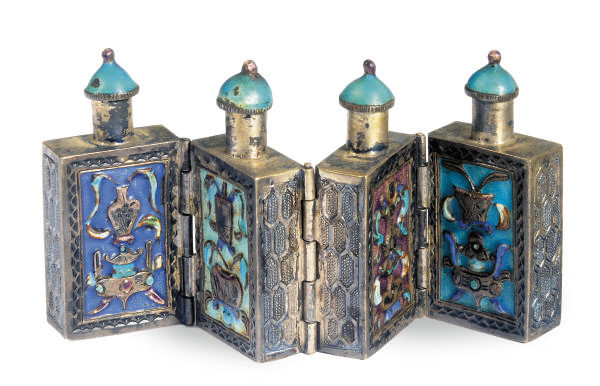 A CHINESE SILVER ENAMEL FOUR-C