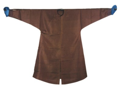 A BEIGE GAUZE COAT AND A BROWN
