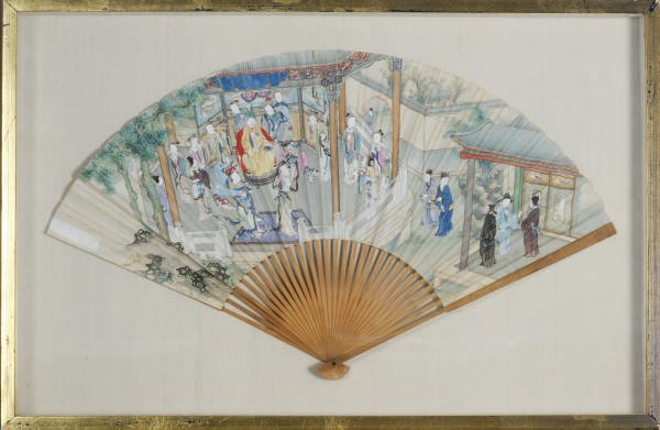 A CHINESE PAINTED PAPER FAN,
