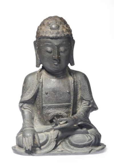 A SMALL CHINESE BRONZE SEATED