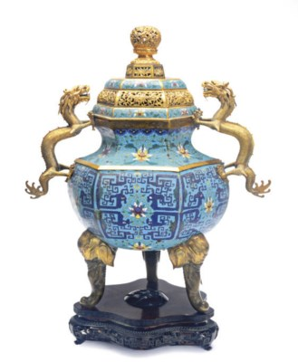 A CHINESE CLOISONNÈ CENSER AND