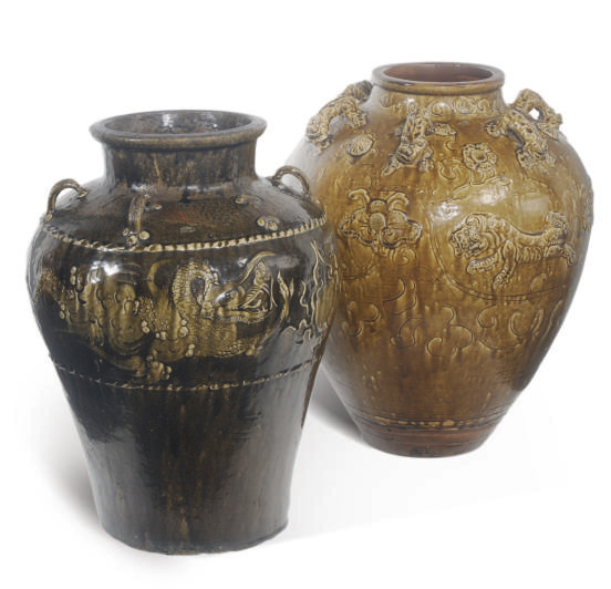 TWO CHINESE BROWN-GLAZED BALUS