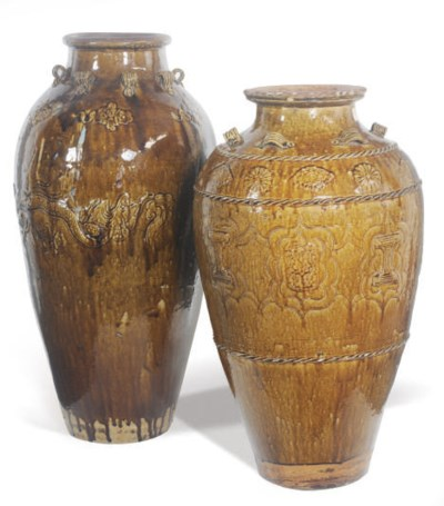 TWO LARGE CHINESE BROWN-GLAZED
