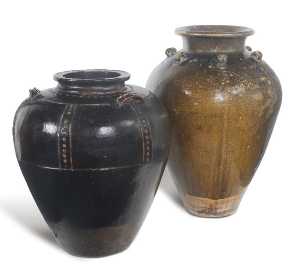 TWO CHINESE BROWN-GLAZED JARS,