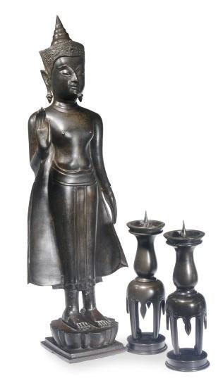 A THAI STANDING BUDDHA AND A P