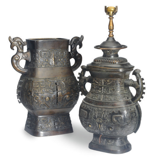 TWO CHINESE ARCHAISTIC BRONZE