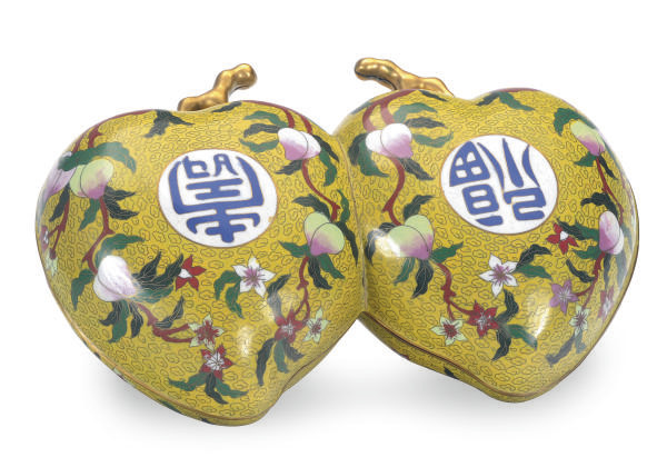 A CHINESE CLOISONNE DOUBLE-PEA