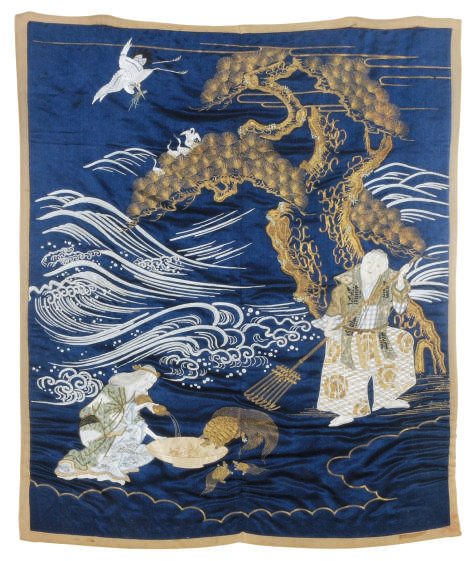 A JAPANESE GILT-EMBROIDERED SI
