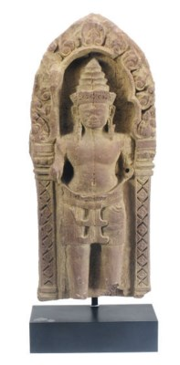 A KHMER SANDSTONE RELIEF WITH
