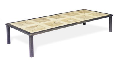 A STEEL AND OAK COFFEE TABLE,