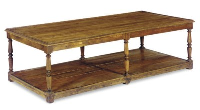 A PINE AND OAK LOW TABLE,