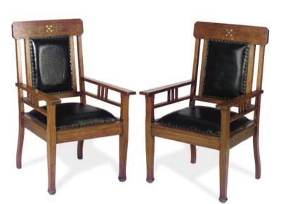 A PAIR OF WALNUT AND BLACK LEA