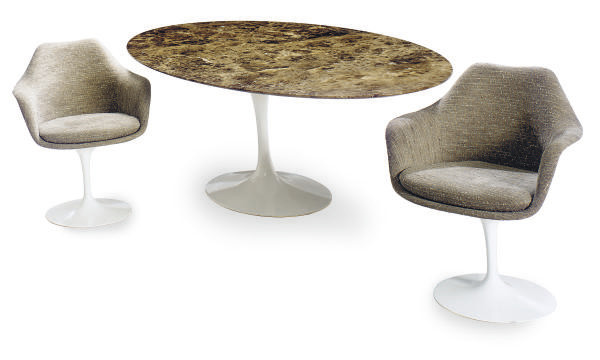AN ENAMELED METAL, FIBERGLASS AND MARBLE 'TULIP' DINING SUITE,