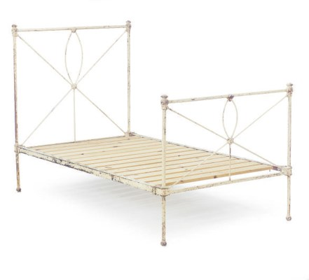 A WHITE ENAMELED METAL BED,