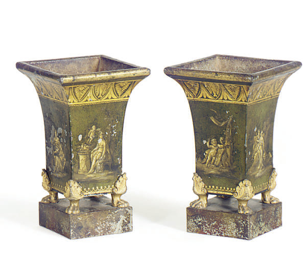 A PAIR OF GREEN AND GILT TOLE