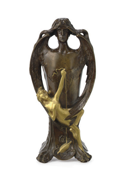 A PATINATED AND GILT-BRONZE FIGURAL VASE,