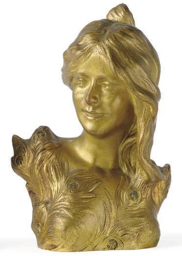 A GILT-BRONZE BUST OF A WOMAN,