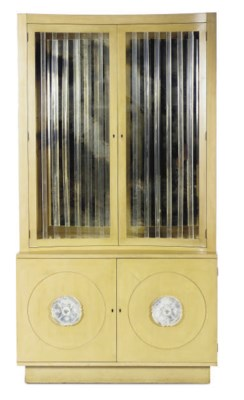 A PAINTED AND LUCITE CABINET,