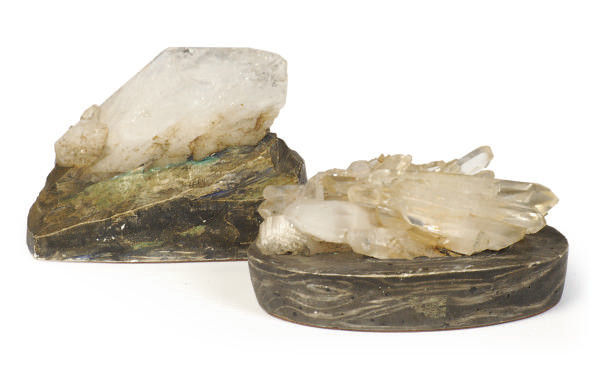 TWO ROCK CRYSTAL PAPERWEIGHTS,