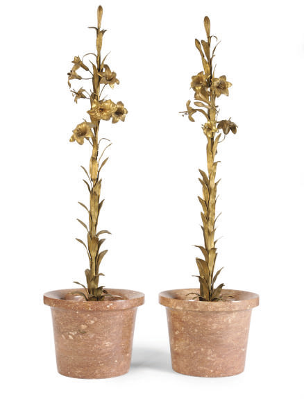 A PAIR OF MARBLE JARDINEIRES F