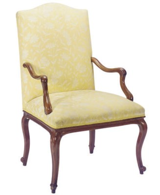 A LOUIS XV WALNUT AND UPHOLSTE