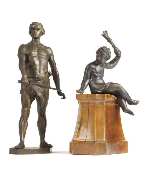 TWO BRONZE FIGURES,