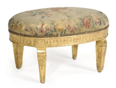 AN ITALIAN GILTWOOD AND UPHOLS