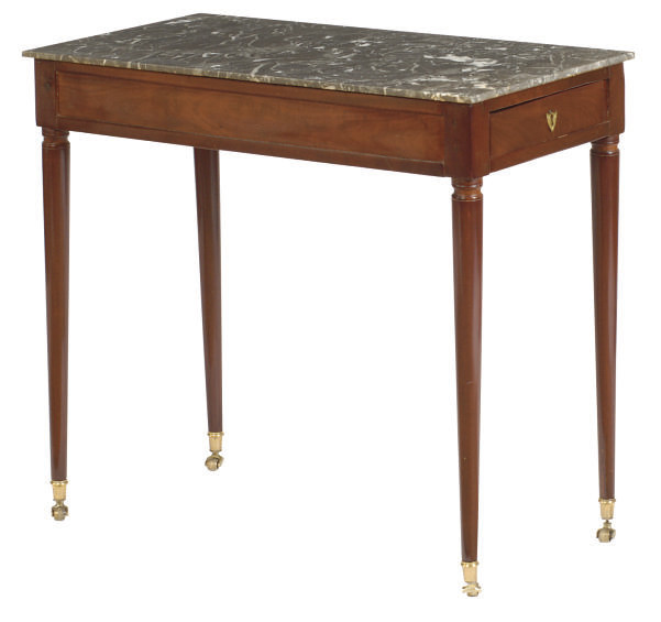 A FRENCH MAHOGANY AND MARBLE T