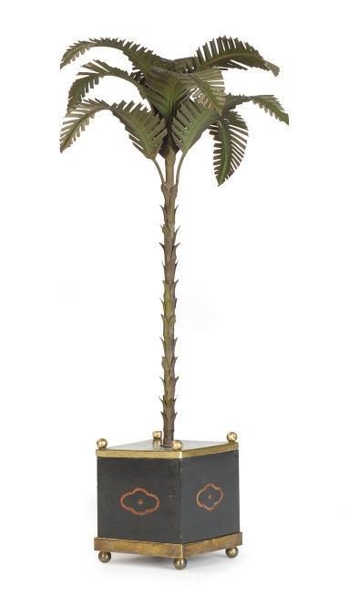 A TOLE PEINTE PALM TREE ON STA
