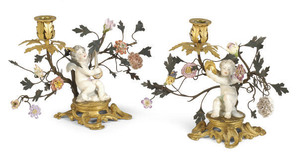 A PAIR OF GILT-BRONZE, ENAMELE