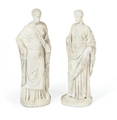 A PAIR OF WHITE MARBLE FIGURES