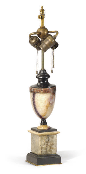 A BLUE JOHN URN MOUNTED AS A L