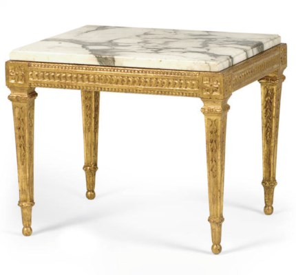 AN ITALIAN GILTWOOD AND MARBLE