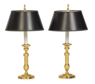 A PAIR OF GILT-METAL CANDLESTI