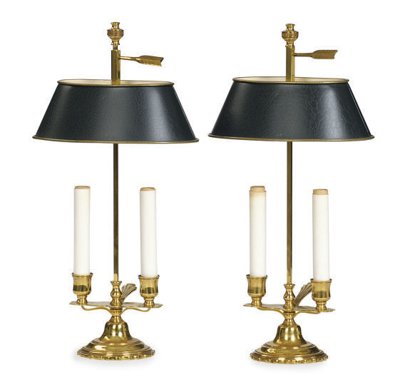 A PAIR OF GILT-METAL TWO-LIGHT