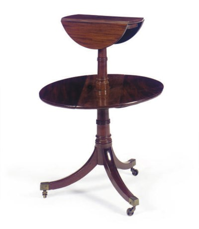 A MAHOGANY DROP-LEAF DUMBWAITE