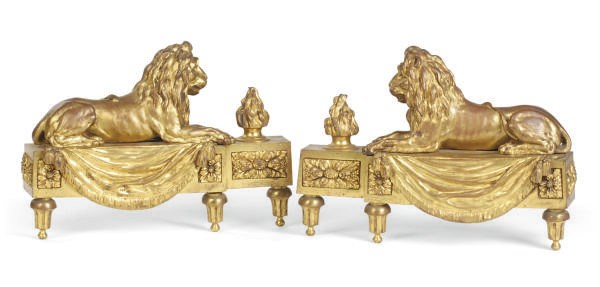 A PAIR OF GILT-BRONZE AND STEE