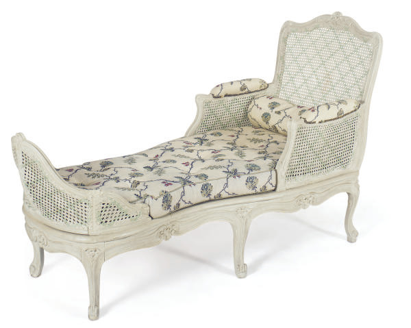 A LOUIS XV PAINTED AND CANED D