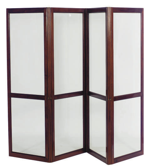 A FRENCH MAHOGANY AND GLASS FO