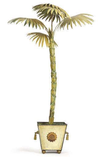 A TOLE PEINTE PALM TREE IN STA