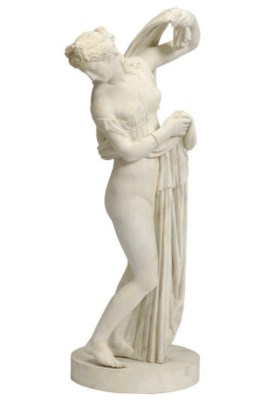 A WHITE PAINTED BRONZE FIGURE