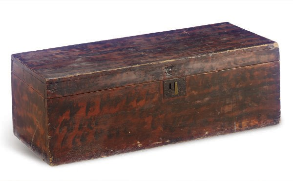 A PAINT-DECORATED PINE BOX,