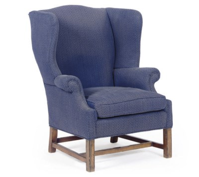 A FRUITWOOD AND UPHOLSTERED WI