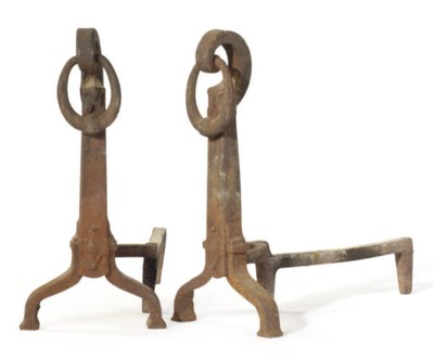 A PAIR OF IRON ANDIRONS,