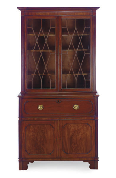 AN ENGLISH MAHOGANY SECRETARY-