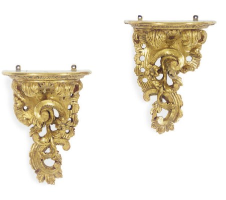 A PAIR OF CARVED GILTWOOD WALL