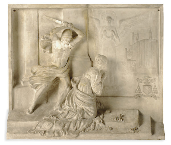 A PAINTED PLASTER RELIEF PLAQU