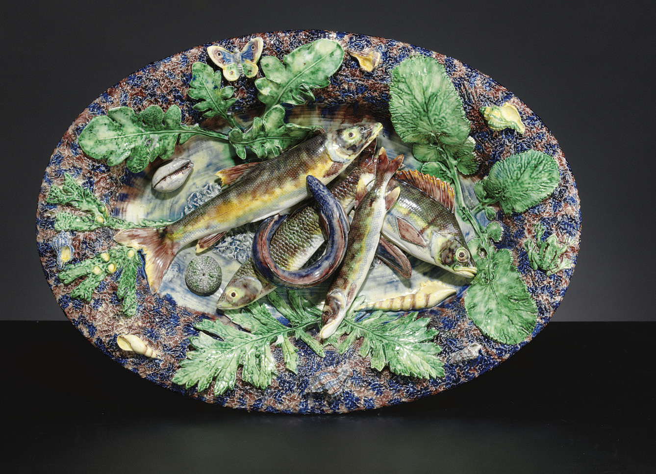 A FRENCH MAJOLICA PALISSY STYL