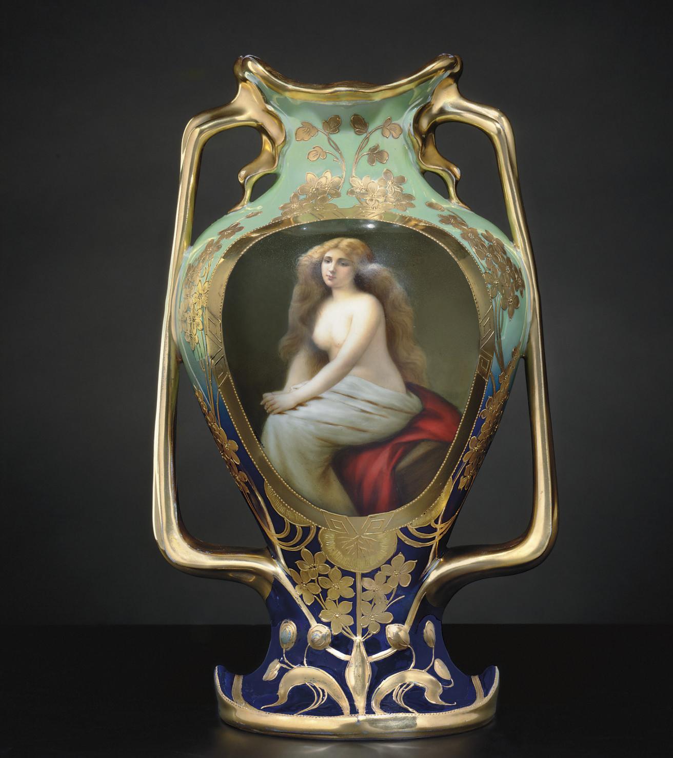 A VIENNA STYLE IRIDESCENT CELADON AND COBALT-BLUE GROUND PORTRAIT VASE, 'SOLITUDE'