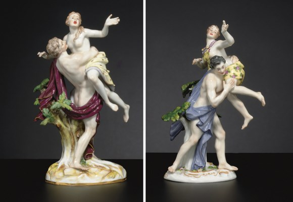 TWO MEISSEN FIGURE GROUPS OF B